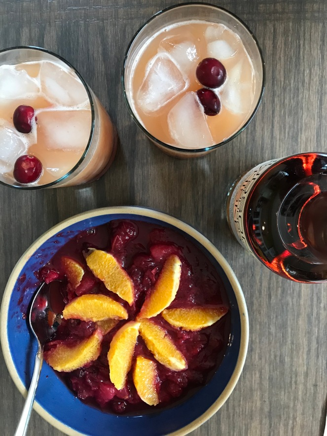 bourbon cocktails and cranberry sauce